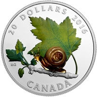 2016 Canada $20 Little Creatures - Snail With Murano Glass (No Tax)