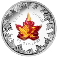 2016 Canada $50 Autumn Radiance with Murano Maple Leaf 5oz. Silver (No Tax)