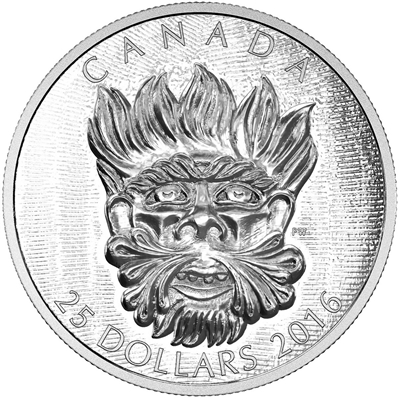 2016 Canada $25 Sculptural Art - Grotesque Wild Green Man (TAX Exempt)