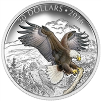 2016 Canada $20 Majestic Animals - Baronial Bald Eagle Silver (No Tax)