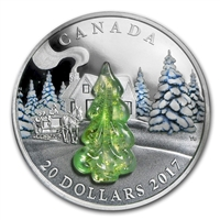 2017 Canada $20 Snow Covered Trees with Murano Glass Fine Silver