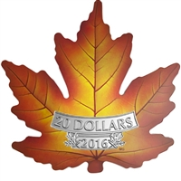 2016 $20 Canada's Colourful Maple Leaf Shaped Fine Silver (No Tax)