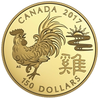 2017 Canada $150 Lunar Year of the Rooster 18K Gold Coin