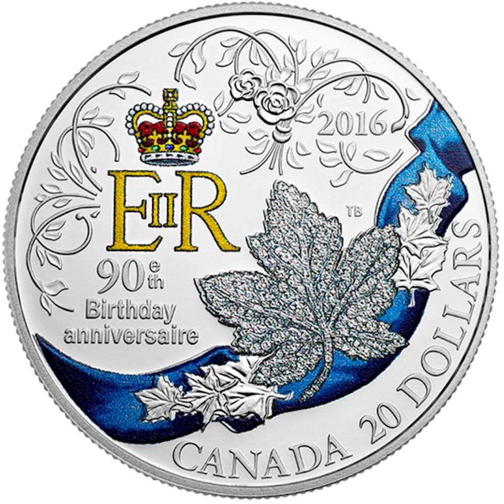2016 Canada 20 HRH Queen Elizabeth IIs 90th Birthday TAX Exempt