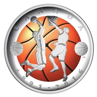 RDC 2016 Canada $25 Invention of Basketball Curved Silver (No Tax) Toned