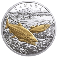 2017 Canada $20 From Sea to Sea - Pacific Salmon Gold-Plated Silver (No Tax)