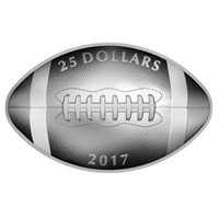 2017 Canada $25 Football-Shaped and Curved Fine Silver (No Tax)