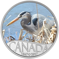 RDC 2017 $10 Celebrating Canada's 150th - Great Blue Heron Silver (No Tax) Impaired