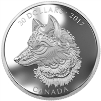 2017 Canada $30 Zentangle Art - The Great Grey Wolf 2oz. Silver (No Tax)