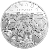 2017 Canada $100 Vimy Ridge 10oz Fine Silver Coin (No Tax) Outer cardboard sleeve has a small bend.