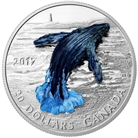 2017 Canada $20 Three-Dimensional Breaching Whale Fine Silver (No Tax) scratched capsule