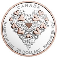 2017 Canada $20 Best Wishes On Your Wedding Day Fine Silver (No Tax) scratched capsule