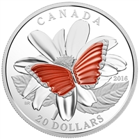 2016 Canada $20 The Colourful Wings of a Butterfly Silver (No Tax)