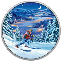 2017 $15 Great Canadian Outdoors - Night Skiing Fine Silver (No Tax)