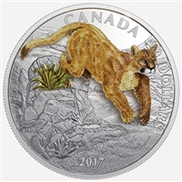 2017 Canada $20 Three-Dimensional Leaping Cougar Fine Silver (No Tax)