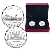 2017 Canada $1 30th Anniversary of the Loonie Fine Silver 2-coin Set (No Tax)
