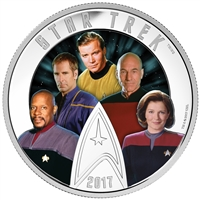 2017 Canada $30 Star Trek - Five Captains Fine Silver (No Tax)