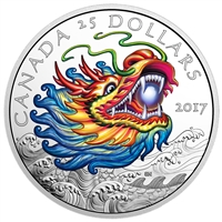 2017 Canada $25 Dragon Boat Festival Fine Silver (No Tax) ripped sleeve