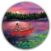 2017 $15 Great Canadian Outdoors - Sunset Canoeing Fine Silver (No Tax)