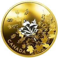 RDC 2017 Canada $50 Whispering Maple Leaves Gold Plated 3oz. (No Tax) capsule scratched