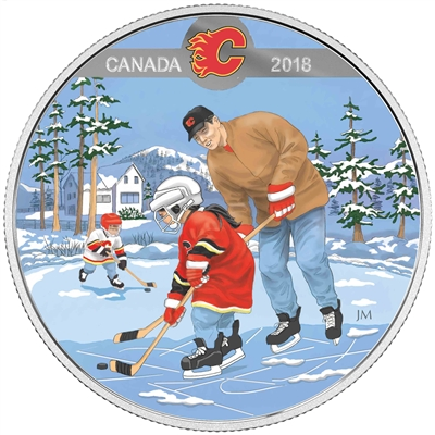 2018 Canada $10 Learning to Play - Calgary Flames - Fine Silver (No Tax)