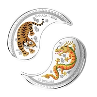 RDC 2018 Canada $10 Tiger and Dragon Yin and Yang Fine Silver Coins (No Tax) Impaired