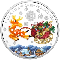 2018 Canada $20 Holiday Reindeer With Murano Glass Silver Coin (No Tax)
