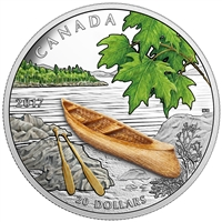 2017 Canada $20 Canoe to Tranquil Times Fine Silver (No Tax) Toned