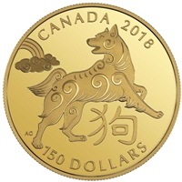 2018 Canada $150 Lunar Year of the Dog 18K Gold Coin
