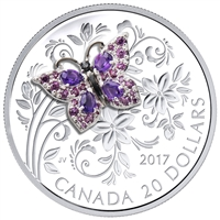 2017 Canada $20 Bejeweled Bugs - Butterfly Fine Silver Coin