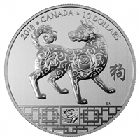 2018 Canada $10 Year of the Dog Fine Silver (No Tax)