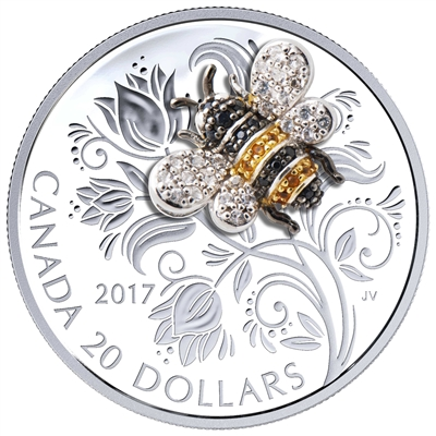 2017 Canada $20 Bejeweled Bugs - Bee Fine Silver Coin