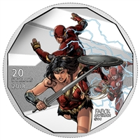 2018 Canada $20 The Justice League - The Flash and Wonder Woman Fine Silver (No Tax)