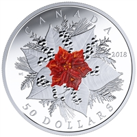 2018 Canada $50 Holiday Splendour 5oz. Fine Silver with Murano Glass
