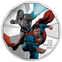 2018 Canada $20 The Justice League - Cyborg and Superman Fine Silver (No Tax)