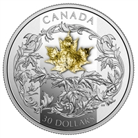 RDC 2018 Canada $30 Golden Maple Leaf 2oz Gold Plated Fine Silver Coin (Toning)