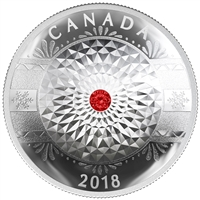 2018 Canada $25 Classic Holiday Ornament Fine Silver with Swarovski Crystal (No Tax)