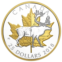 2018 $25 Timeless Icons - Piedfort Caribou Fine Silver Coin
