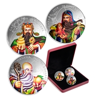 2018 Canada The San Xing Gods: Fu, Lu, Shou 5oz. 3-coin Silver Set (No Tax)
