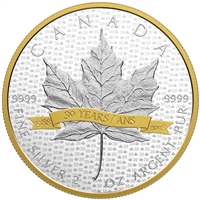 2018 Canada $10 SML Tribute to 30 Years 2oz. Gold Plated Fine Silver (No Tax)