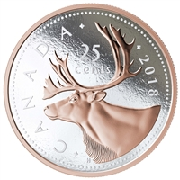 2018 Canada 25-cent Big Coin 5oz Rose-Gold Plated Fine Silver (No Tax)