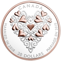 2018 Canada $20 Best Wishes on Your Wedding Day Silver Coin (TAX Exempt)
