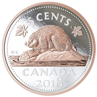 2018 Canada 5-cent Big Coin Rose-Gold Plated 5oz. Fine Silver (TAX Exempt)
