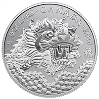 2018 Canada $8 Dragon Luck Silver Coin (TAX Exempt)