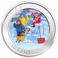 2018 Canada 50-cent 3D Snowball Fight Lenticular Coin