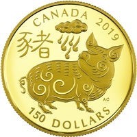 (Pre-Order) 2019 Canada $150 Year of the Pig 18k Gold Coin