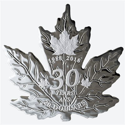 2018 Canada $20 30th Anniversary of the Silver Maple Leaf Shaped Pure Silver (No Tax)