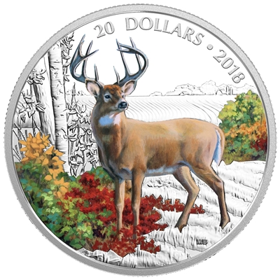 2018 Canada $20 Majestic Wildlife - Wandering White-Tailed Deer Fine Silver (No Tax)