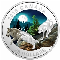 2018 Canada $20 Geometric Fauna - Grey Wolves Fine Silver (No Tax)