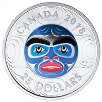 2018 Canada $25 Ancestor Moon Mask Ultra-High Relief Coloured Fine Silver (No Tax)